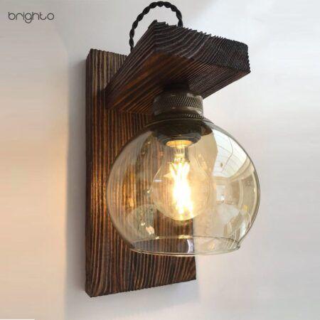 چراغ دیواری حباب دار چوبی