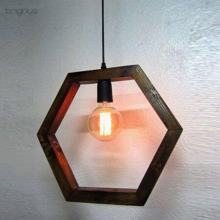اویز چوبی هندسی شش ضلعی